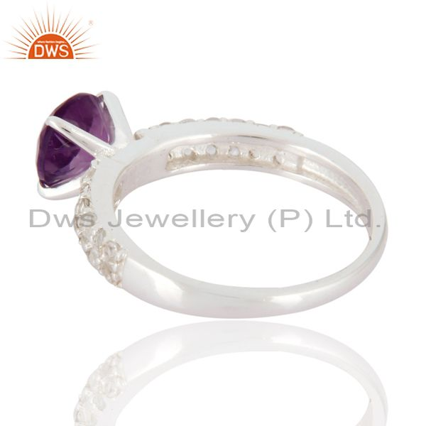 Suppliers Sterling Silver Round Cut Amethyst Gemstone Solitaire Ring With White Topaz Halo