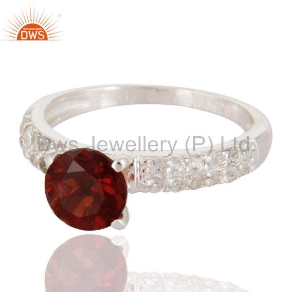 Suppliers 925 Sterling Silver Genuine Gemstone Garnet Solitaire Ring With White Topaz Halo