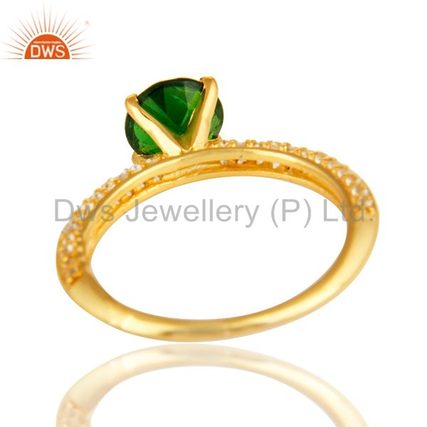 Suppliers 14K Yellow Gold Over Sterling Silver Chrome Diopside & White Topaz Halo Ring