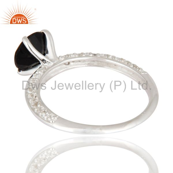 Suppliers Black Onyx And White Topaz Halo Ring in Sterling Silver Gemstone Fine Jewelry