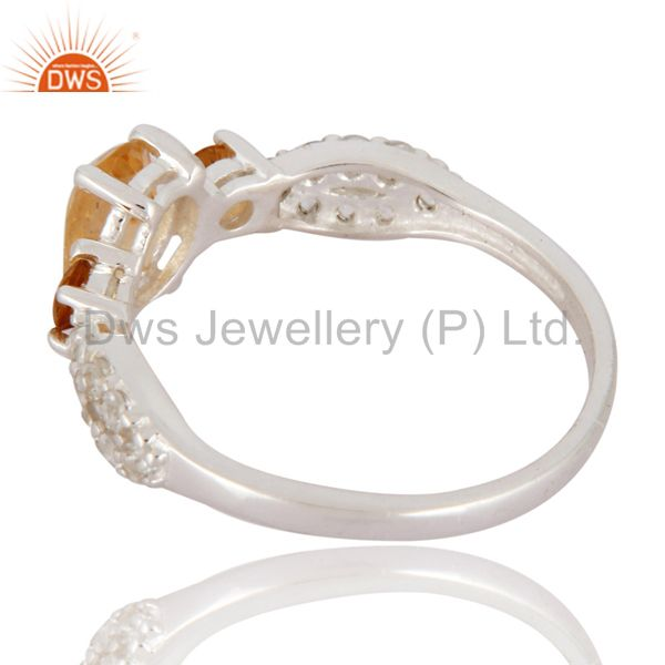 Suppliers Citrine Gemstone And White Topaz Halo Gemstone Ring in 925 Sterling Silver