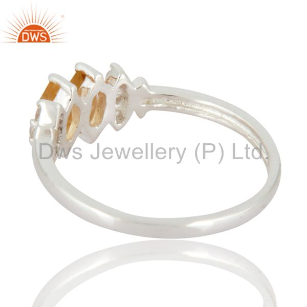 Suppliers Marquise-Cut Citrine And White Topaz Gemstone Solitaire Ring in Sterling Silver