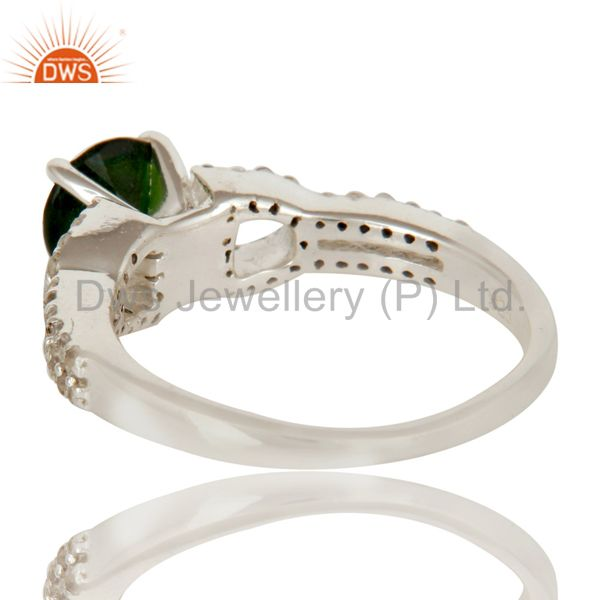 Suppliers 925 Sterling Silver Diopside Chrome And White Topaz Halo Style Ring
