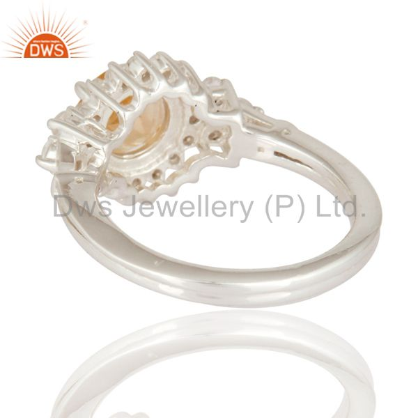 Suppliers Genuine Citrine And White Topaz Gemstone Solid 925 Sterling Silver Wedding Ring