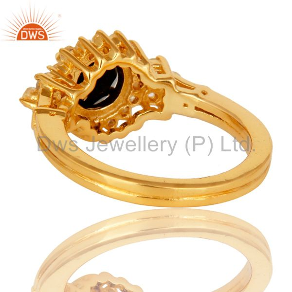Suppliers 18K Yellow Gold Plated Sterling Silver White Topaz And Black Onyx Solitaire Ring