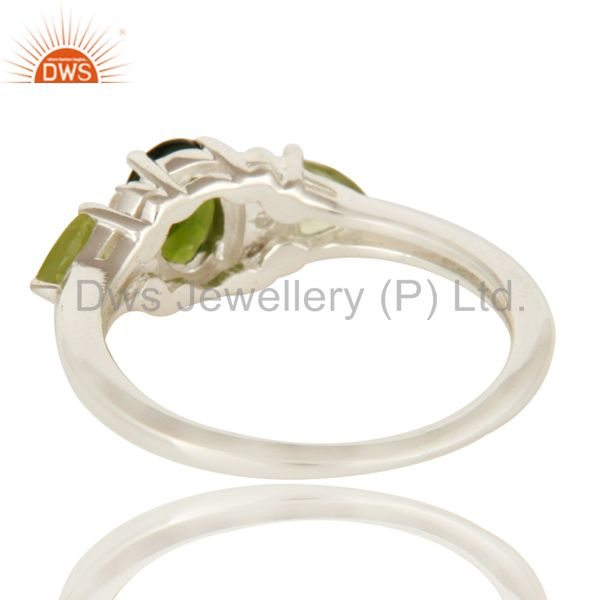 Suppliers Natural Chrome Diopside And Peridot Sterling Silver Ring With White Topaz