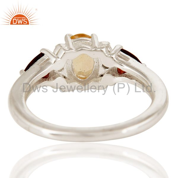 Suppliers Natural Citrine And Garnet Trillion Cut Gemstone Sterling Silver Ring