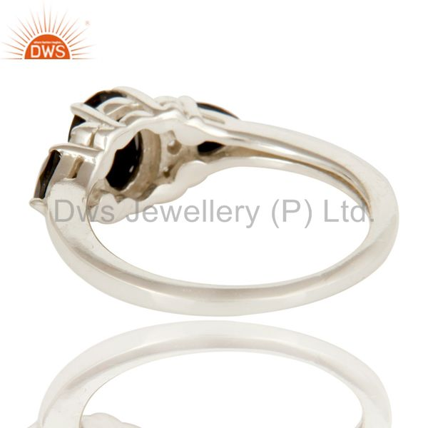 Suppliers Black Onyx And White Topaz Solitaire Three Stone Ring Made In Sterling Silver