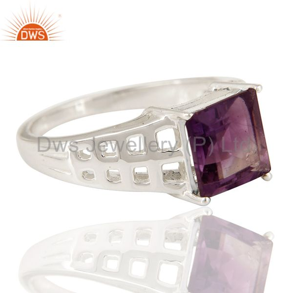 Suppliers Natural Amethyst Gemstone Square Cut Sterling Silver Ring