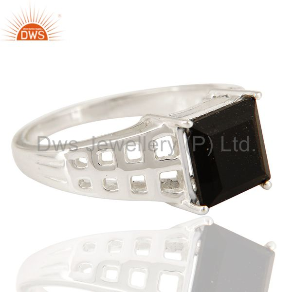 Suppliers Natural Black Onyx Gemstone Square Cut Sterling Silver Ring
