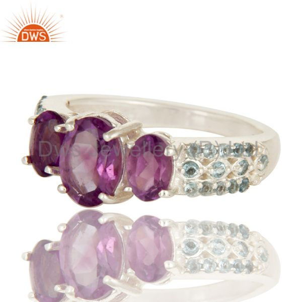 Suppliers 925 Sterling Silver Amethyst And Blue Topaz Three Stone Halo Style Ring