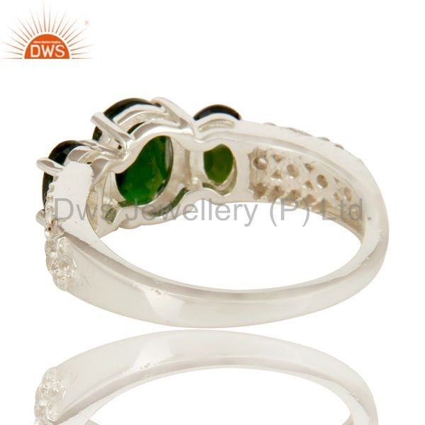 Suppliers 925 Sterling Silver Genuine Chrome Diopside with White Topaz Accent Ring