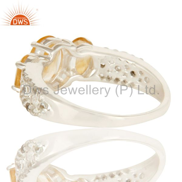 Suppliers 925 Sterling Silver Citrine And White Topaz Gemstone  Halo Style Ring