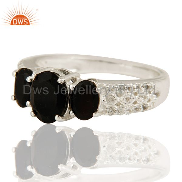 Suppliers Natural Black Onyx And White Topaz Sterling Silver Ring