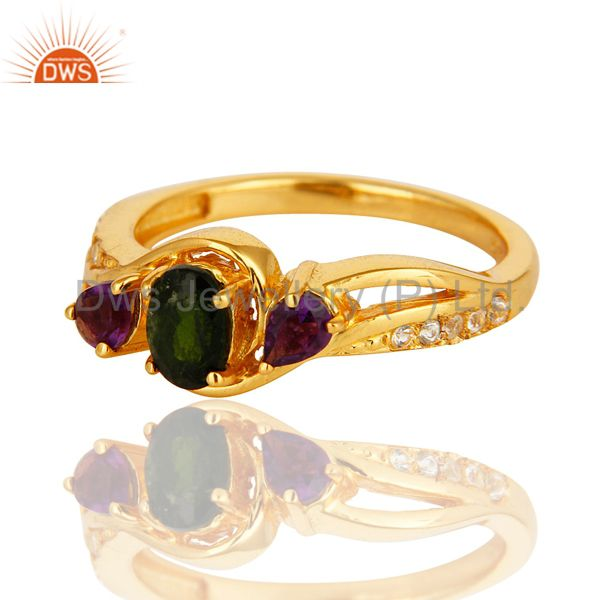 Suppliers Chrome Diopside, Amethyst And Round White Topaz 14K GOld On Sterling Silver Ring