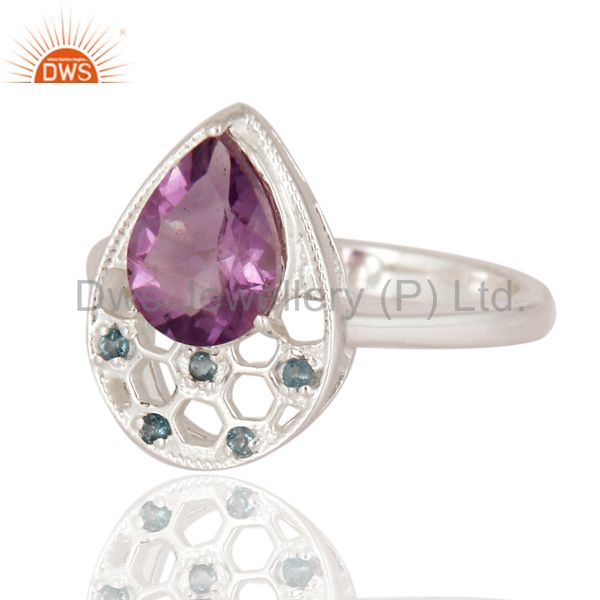 Suppliers Natural Blue Topaz And Amethyst Gemstone 925 Sterling Silver Solitaire Ring