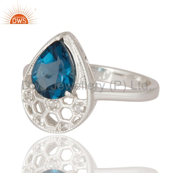 Suppliers 925 Sterling Silver Blue Topaz Gemstone Solitaire Engagement Ring Jewelry Size 8