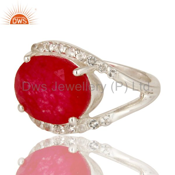 Suppliers 925 Sterling Silver Red Aventurine And White Topaz Gemstone Split Shank Ring