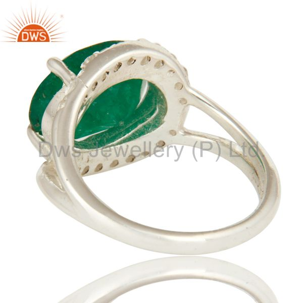 Suppliers 925 Sterling Silver Emerald Green Corundum And White Topaz Split Shank Ring