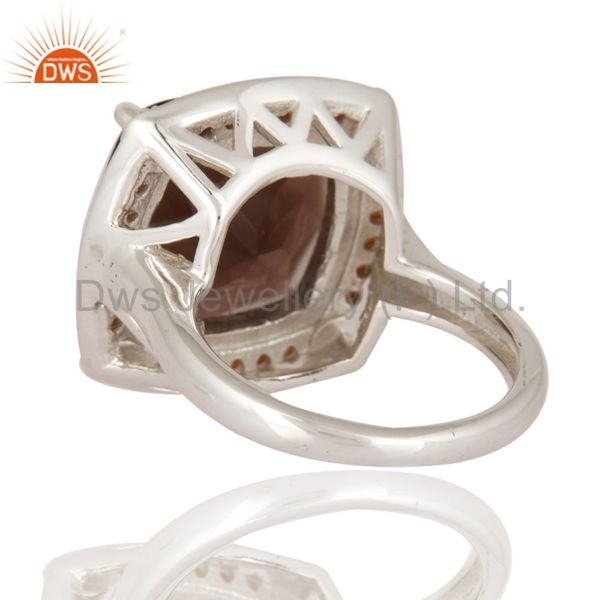 Suppliers Genuine Cushion-Cut Smoky Quartz Gemstone Solid Sterling Silver Solitaire Ring