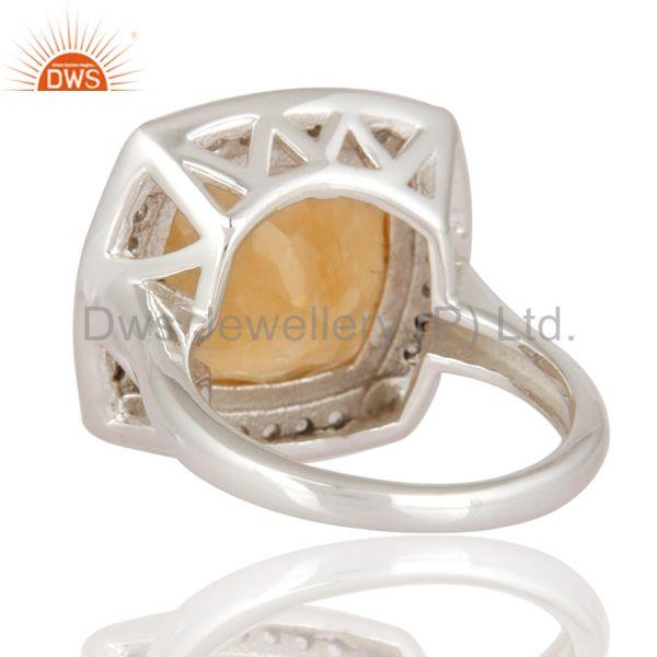 Suppliers Natural Citrine Gemstone Cushion Shape Sterling Silver White Rhodium Plated Ring