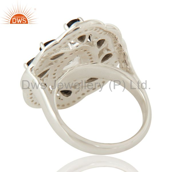 Suppliers Crystal Quartz And Black Onyx Sterling Silver White Topaz Flower Cocktail Ring