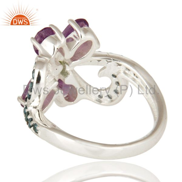 Suppliers Blue Topaz, Amethyst And Chrome Diopside Sterling Silver Cocktail Cluster Ring
