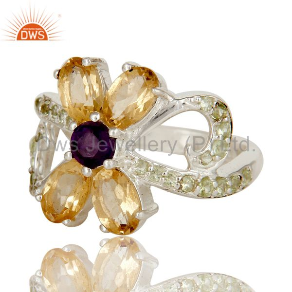 Suppliers Citrine Amethyst and Peridot Sterling Silver Cocktail Cluster Ring