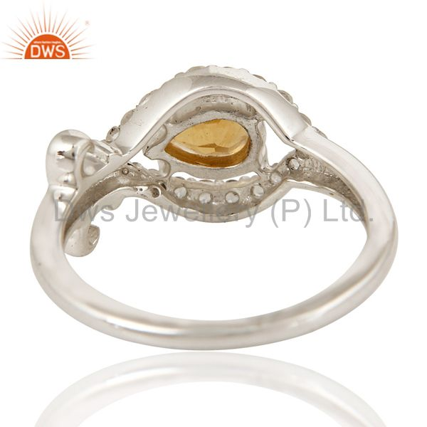Suppliers Natural Citrine Gemstone 925 Sterling Silver Womens Ring With White Topaz