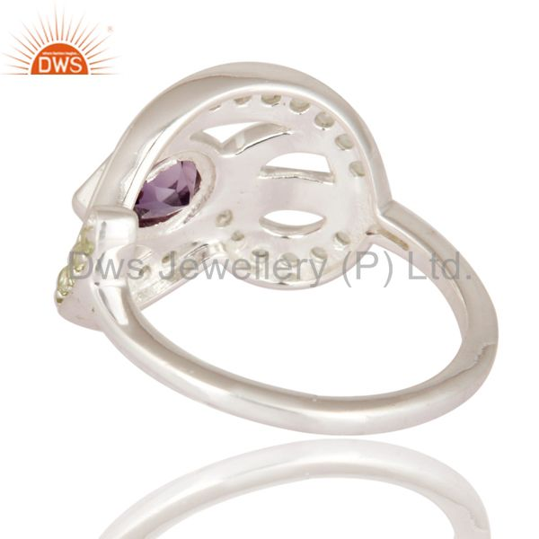 Suppliers Genuine Amethyst Gemstone Solid 925 Sterling Silver Ring With Peridot