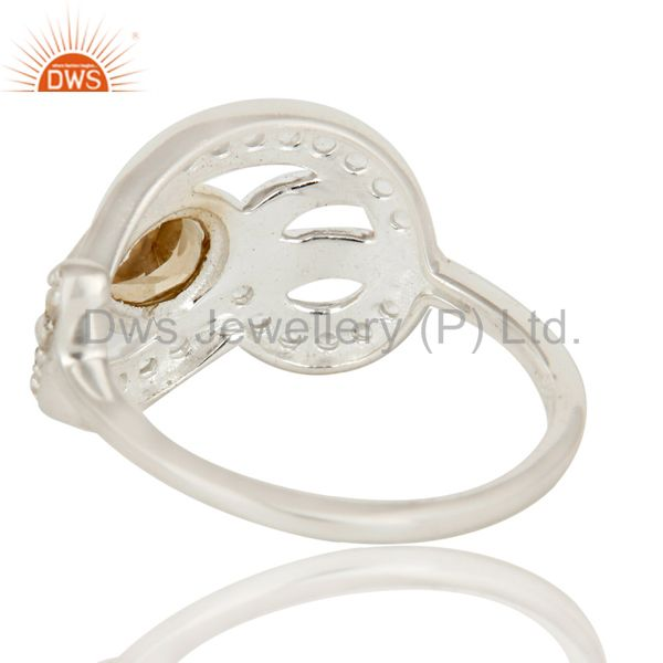 Suppliers 925 Sterling Silver Citrine And White Topaz Gemstone Designer Ring