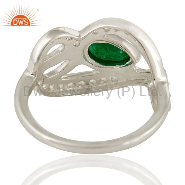 Suppliers Green Aventurine Gemstone And White Sterling Silver Ring