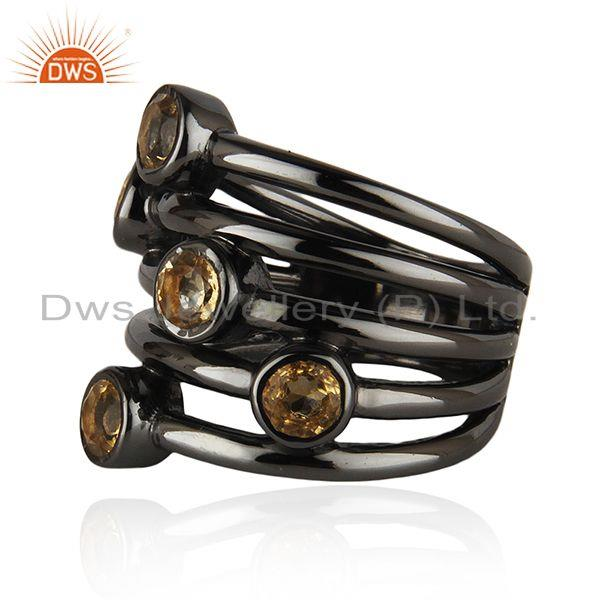 Suppliers 92.5 Sterling Silver Black Rhodium Plated Citrine Gemstone Statement Rings
