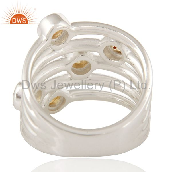 Suppliers 925 Sterling Silver Natural Citrine Round Cut Gemstone Ring