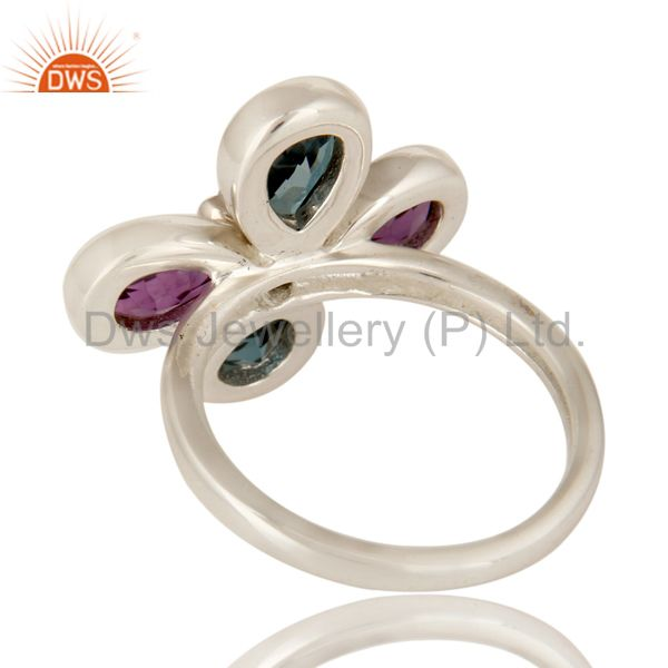 Suppliers 925 Sterling Silver London Blue Topaz And Amethyst Flower Cocktail Ring