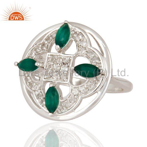 Suppliers 925 Sterling Silver White Topaz And Green Onyx Gemstone Solitaire Designer Ring