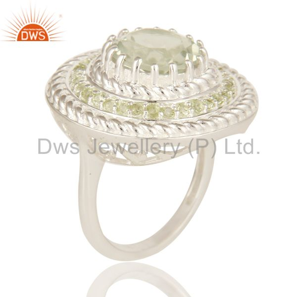 Suppliers Green Amethyst And Peridot 925 Sterling Silver Gemstone Cocktail Ring