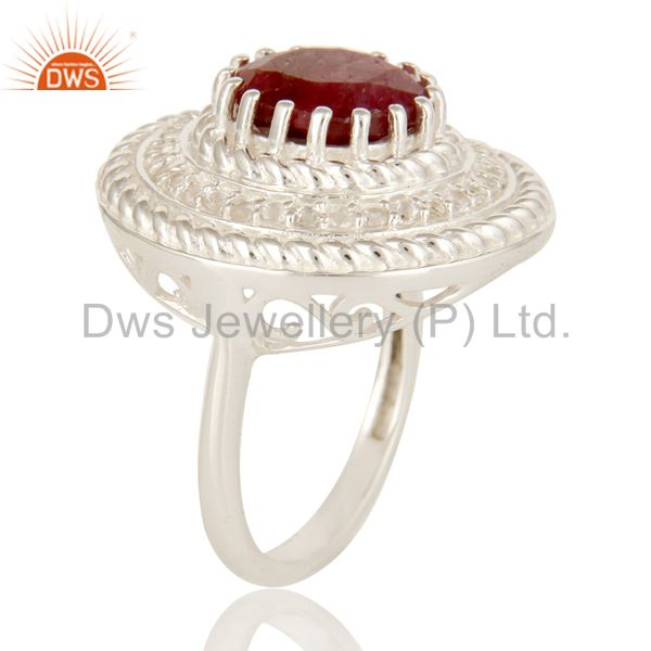 Suppliers 925 Sterling Silver Dyed Ruby And White Topaz Gemstone Cocktail Ring