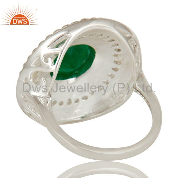 Suppliers Green Aventurine And White Topaz Sterling Silver Cluster Cocktail Fashion Ring