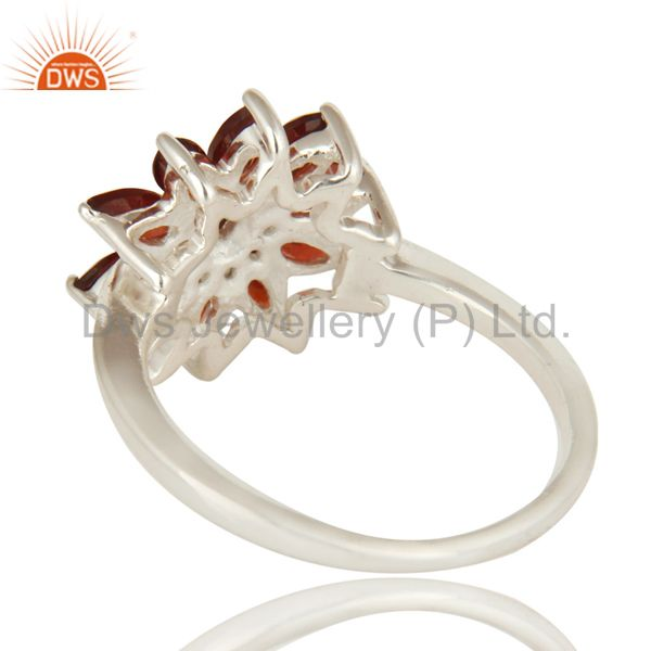 Suppliers 925 Sterling Silver Natural Garnet Marquise Cut Gemstone Cluster Cocktail Ring