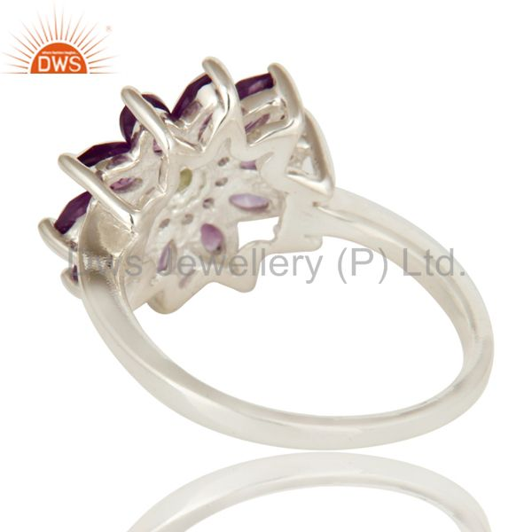 Suppliers 925 Sterling Silver Amethyst And Peridot Gemstone Flower Cocktail Ring