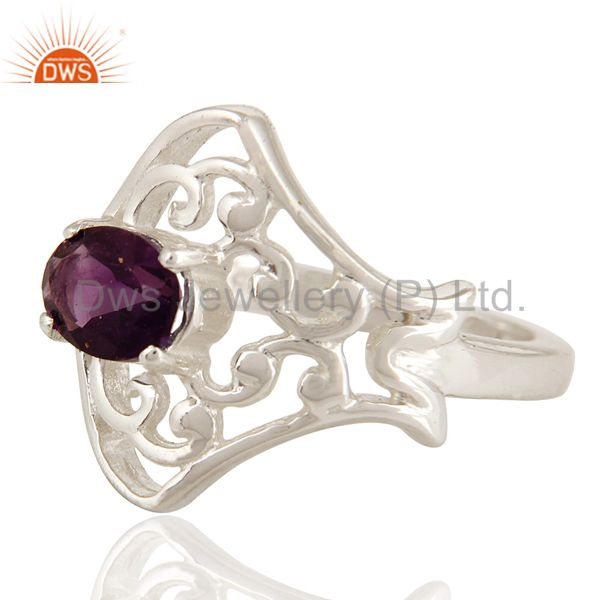 Suppliers Natural Amethyst Gemstone Oval Cut Solid Sterling Silver Ring