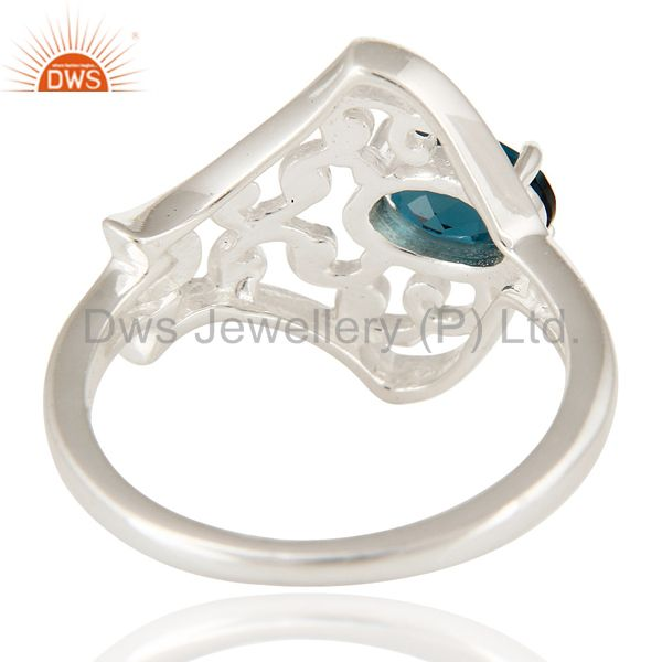 Suppliers 925 Sterling Silver Natural London Blue Topaz Oval Cut Solitaire Ring
