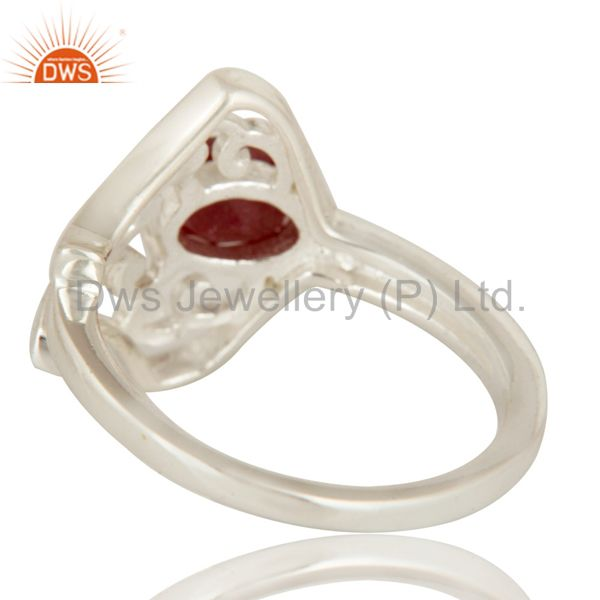 Suppliers Natural Ruby Corundum Sterling Silver Solitaire Ring