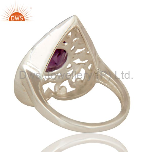 Suppliers Natural Amethyst Round Cut Gemstone Sterling Silver Heart Design Cocktail Ring