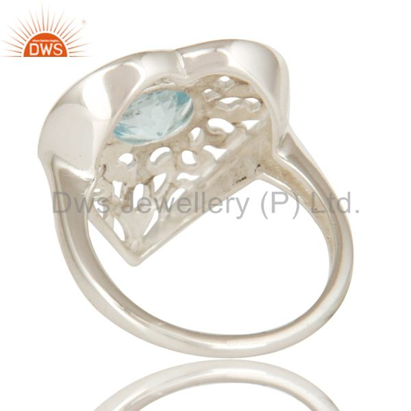 Suppliers High Polish Sterling Silver Blue Topaz Gemstone Heart Design Cocktail Ring