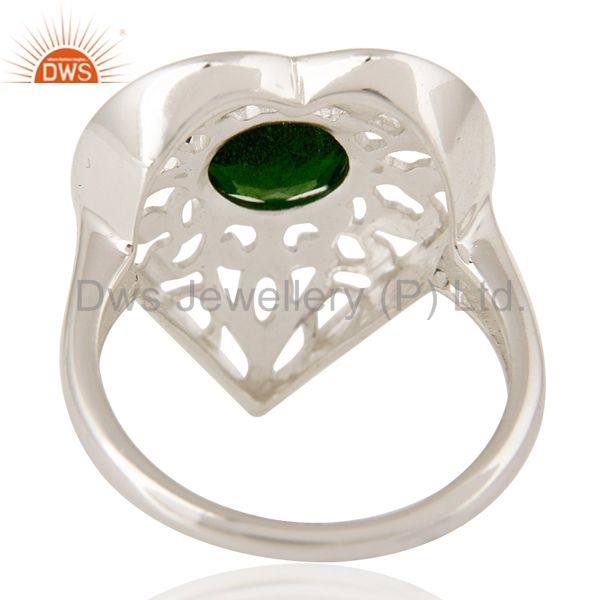 Suppliers High Finish 925 Sterling Silver Dispose Chrome Heart Cocktail Ring Jewelry
