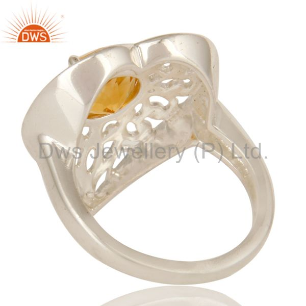 Suppliers Designer Sterling Silver Natural Citrine Gemstone Cocktail Heart Ring