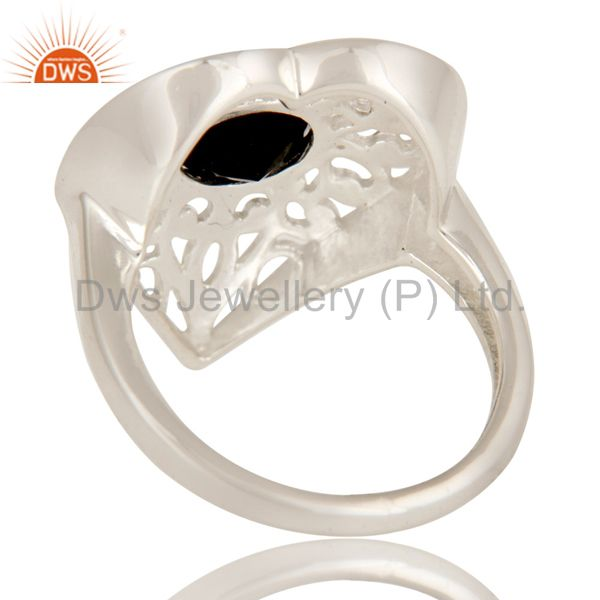 Suppliers Natural Black Onyx High Quality Sterling Silver Heart Design Cocktail Ring