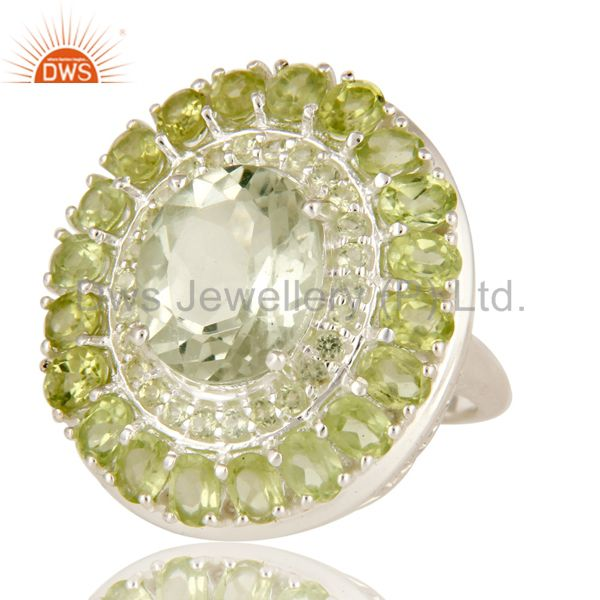 Suppliers 925 Sterling Silver Green Amethyst And Peridot Cluster Statement Ring